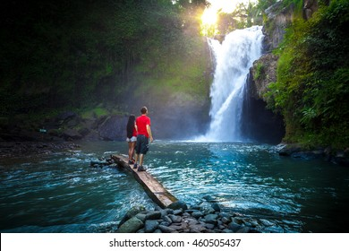 Waterfall Tegenungan hidden in the tropical jungle island Bali, Indonesia