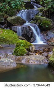 waterfall in thai national park. In the deep forest on mountain. Chiangmai Province , Thailand