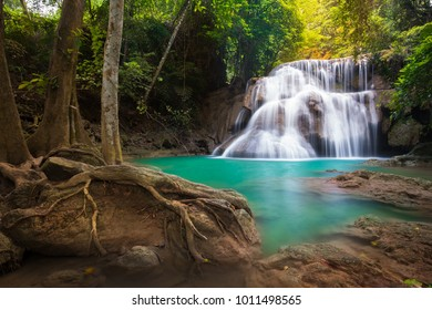 Waterfall in Thailand, called Huay or Huai mae khamin in Kanchanaburi Provience, around with forest environment and emerald water.