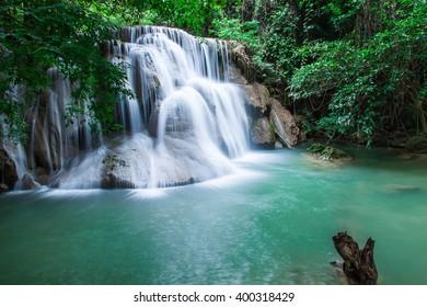 waterfall in Thailand ,Kanjanaburi (Huay Mae Kamin)