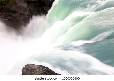 Waterfall. Torres del Paine National Park. Chile. South America. UNESCO biosphere.