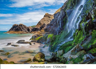 Waterfall, Tresaith Beach, Ceredigion,Cardigan,  West Wales, UK