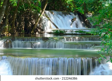 Waterfall in tropical deep forest at Huay Maekhamin