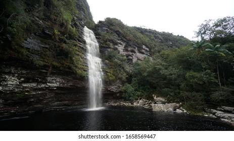 Waterfall in a tropical forest in Chapada Diamantina, State of Bahia, Brazil.