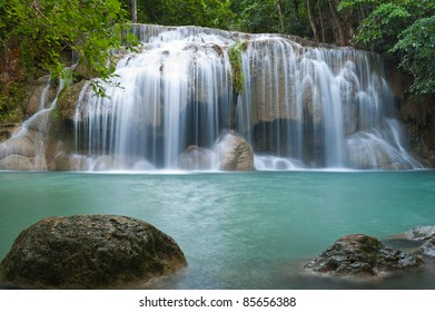 waterfall in tropical forest at Eravan national park Kanchanaburi province Thailand