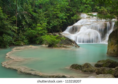 Waterfall in tropical forest at Erawan national park Kanchanaburi province, Thailand