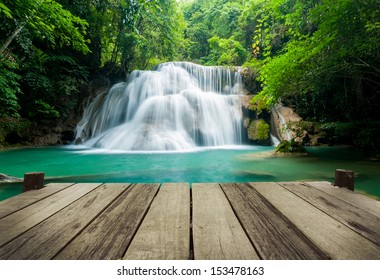 Waterfall in tropical forest at Erawan national park Kanchanaburi province, Thailand