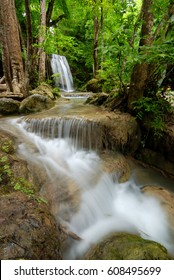 Waterfall in the tropical forest erawan national park,Thailand