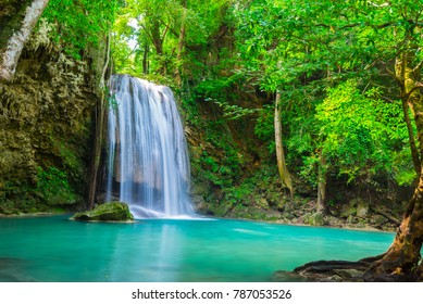 waterfall in the tropical forest in Thailand National Park