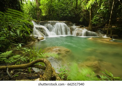 Waterfall in tropical jungle forest in Asia.