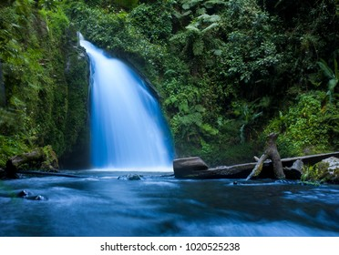 Waterfall in tropical jungle in Mt Kenya National Park.