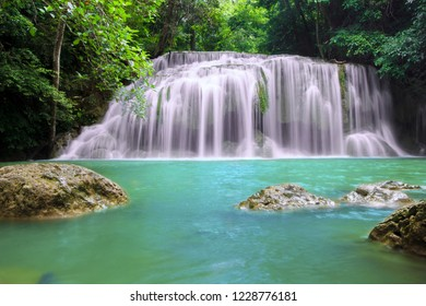 Waterfall in the tropical jungle  in Thailand.