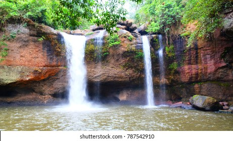 Waterfall in tropical rain forest at nation park in Thailand.