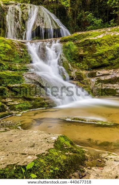 Waterfall a Vall d'en Bas, in the province of Garrotxa (SPAIN, Catalonia).