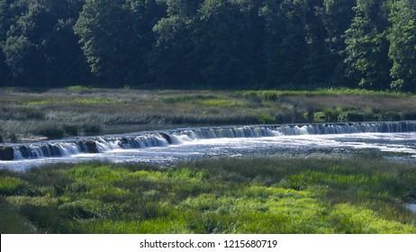Waterfall Ventas Rumba on river Venta at Kuldiga, Latvia, selective focus