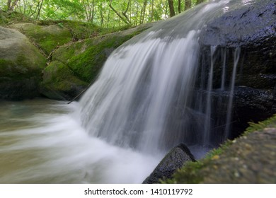 Waterfall view with flowing water effect
