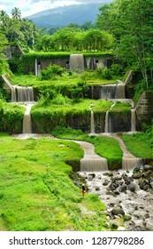 Waterfall view at Mangunsuko Bridge (Jembatan Jokowi), Magelang, Jawa Tengah, Indonesia