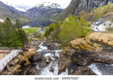 Waterfall walk in Geiranger with Geirangerfjord in the background, Norway