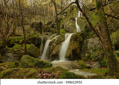 Waterfall in wet forest