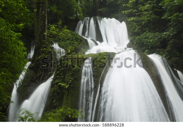 waterfall in wild forest