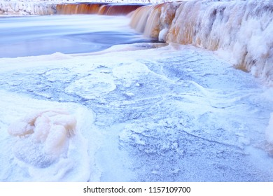 Waterfall. Winter. Frozen river. Landscape