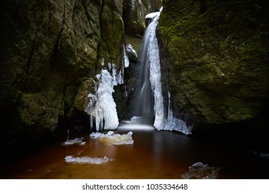 Waterfall in the winter rockies