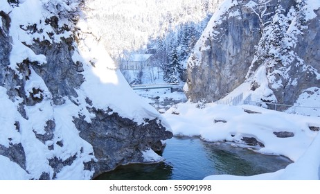 Waterfall in winter with snow