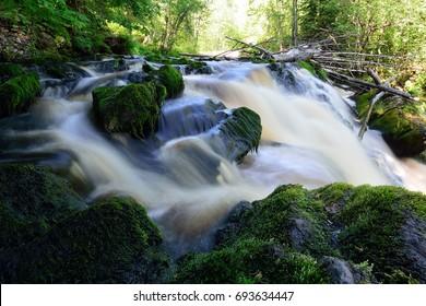 The waterfall Yankoski (White bridges) in REPUBLIC of KARELIA