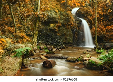 waterfall yellow forest leaf and blue stream in Thailand
