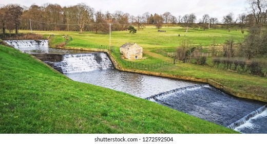 The waterfall at the Yorkshire Sculpture Park, Wakefield, Yorkshire, UK