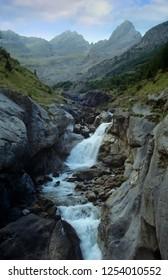Waterfalls and alpine river in Ordesa National Park in Spain.