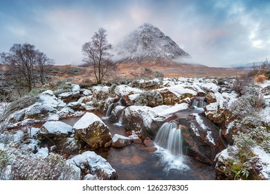 Waterfalls at Buachaille Etive Mor after a dusting of snow