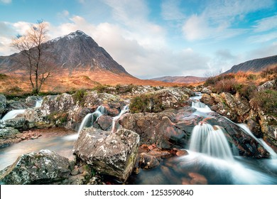 Waterfalls at Buachaille Etive Mor at Glencoe in the Scottish Highlands
