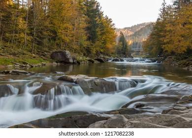 Waterfalls of the Carpathians. mountain rivers. Beautiful view of the Carpathian Mountains