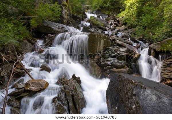 "Waterfalls cascades of Umbal waterfalls, Tyrol, Austria / National park ""Hohe Tauern"""