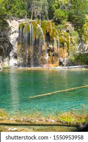 Waterfalls and crystal clear water at Hanging Lake park in Colorado, USA