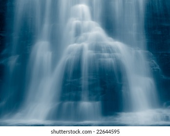 waterfall's detail, blue toned image