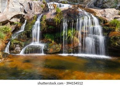 Waterfalls, Footpath Tera River Canyon. Natural Park Lake Sanabria, Zamora.