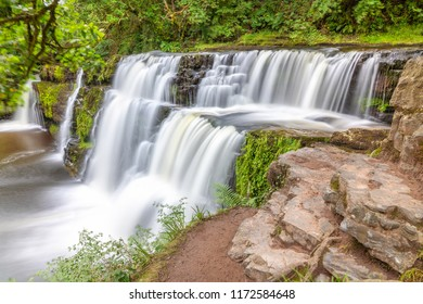 """Waterfalls of the """"For Falls Trail"""" in Brecon Beacons National Park, Wales, UK."""