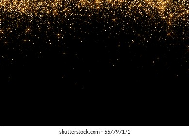 waterfalls of golden glitter sparkle bubbles champagne particles stars on black background,happy new year holiday concept