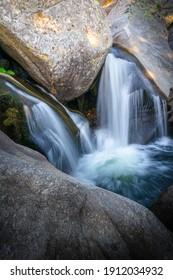 Waterfalls in granite rocks in Sierra de Gredos, Spain. Concept of nature and purity. - Shutterstock ID 1912034932