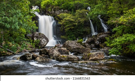 The waterfalls at Inversnaid as they flow into Loch Lomond, the West highland way crosses the bridge above the falls
