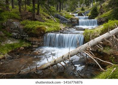 Waterfalls in the Krkonose National park Sumava, Certova Strouha, Czech Republic