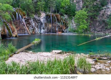 Waterfalls and lake in Hanging lake, Colorado, USA