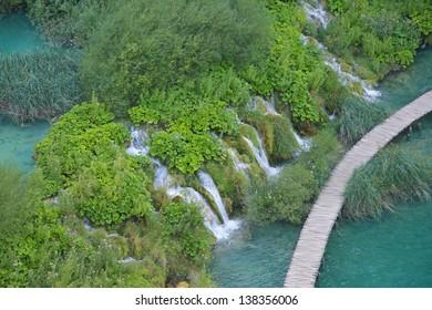 Waterfalls and Lake in Plitvice, National Park, Croatia