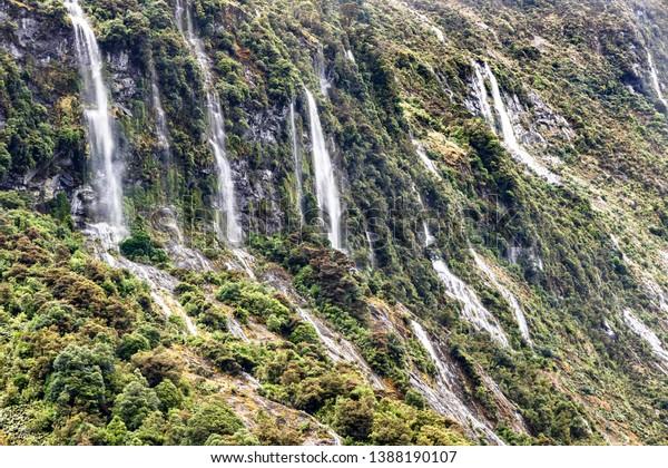 Waterfalls Milford Sound Fiordland National Park Stock Photo
