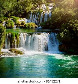 Waterfalls in national park. Krka National Park, Croatia