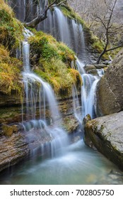 Waterfalls at Nervion river, Delika Canyon, Basque Country, Spain