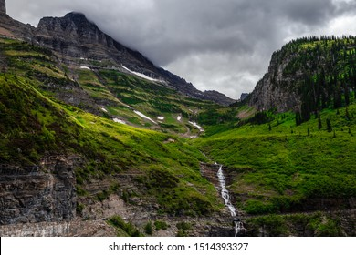 Waterfalls off the Road on Going-to-the-Sun Road in Glacier National Park, Montana