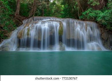 Waterfalls on Earth Erawan Waterfall, beautiful waterfall in rainforest at Kanchanaburi province, Thailand